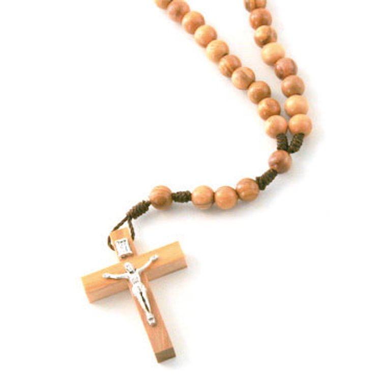 Lot de 12 - Chapelet sur corde, perle en olivier ronde de 6mm, croix avec Christ