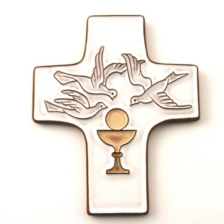 Croix céramique blanche Eucharistie - 11,5 x 9,5 cm