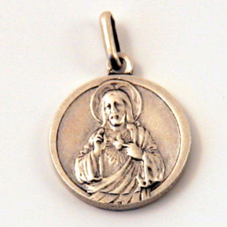 Médaille S.Coeur, finition Vieil Argent en laiton argenté 18 mm, Pack de 25