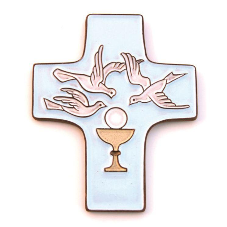 Croix céramique bleue  Eucharistie - 11,5 x 9,5 cm