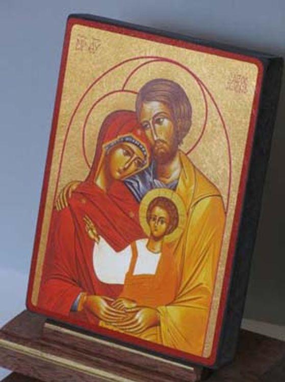 Icône qualité Or 15 x 20 cm La Sainte Famille rectangulaire