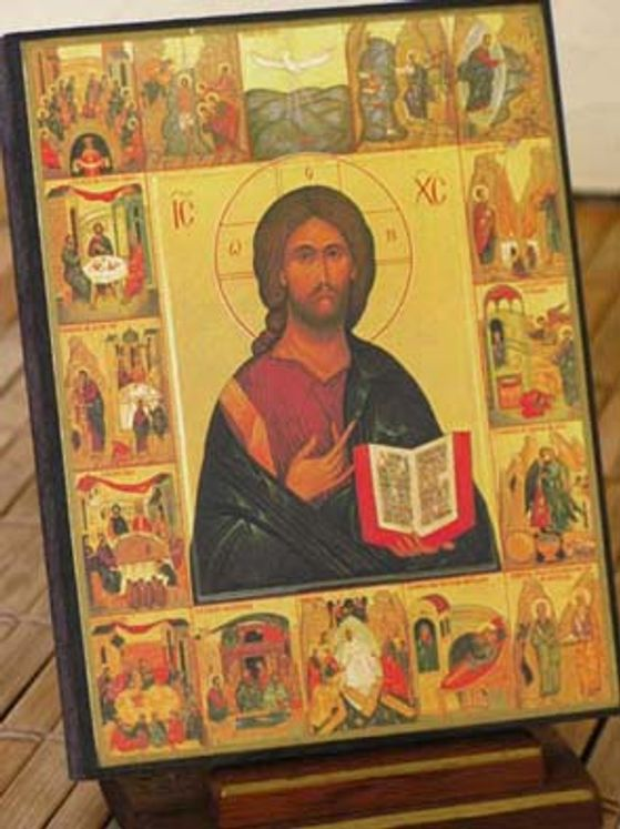 Icône Média Christ des 7 sacrements 10 x 15
