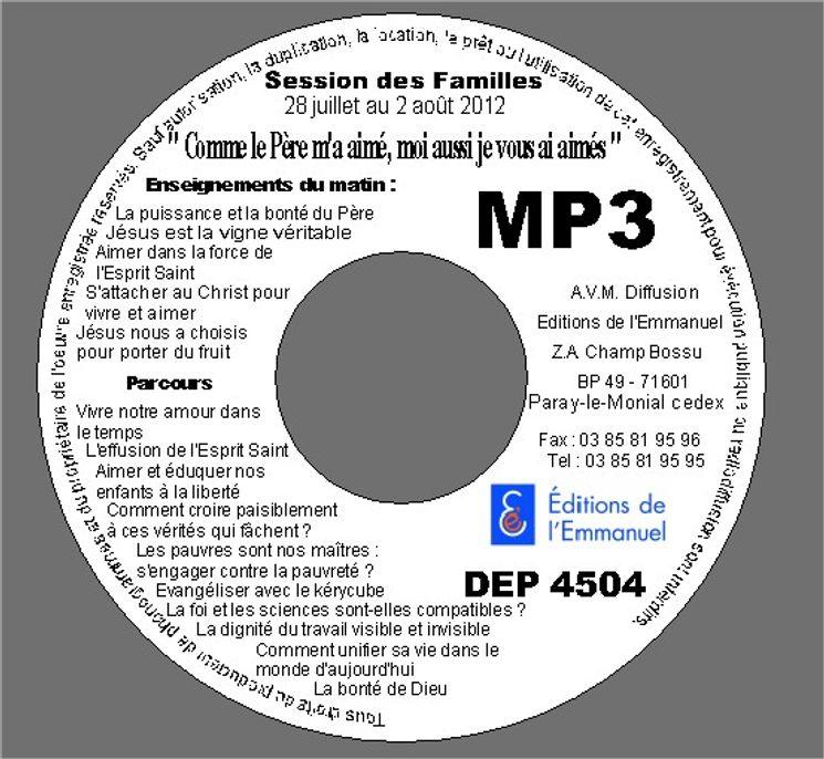 MP3 Session des familles 28 juillet au 02 août 2012