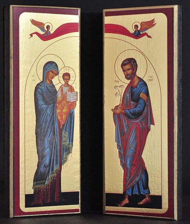 Diptyque qualité Or La Sainte Famille Byzantine Bleu Rouge Hauteur : 12 cm