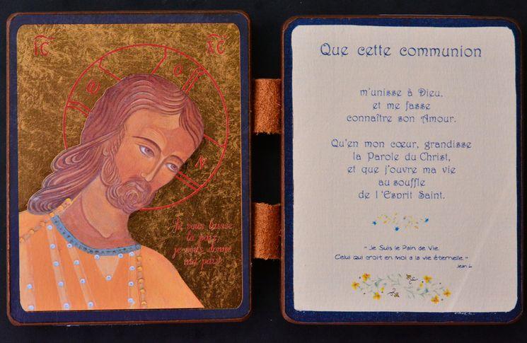 Diptyque qualité Or Christ Amour et Sagesse - Communion 13 x 19 cm