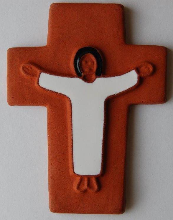 Croix céramique Jésus 10 x 12 cm Coloris naturel