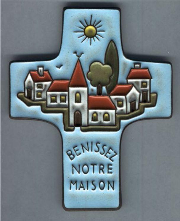 Croix céramique Bénissez notre maison, bleu ciel