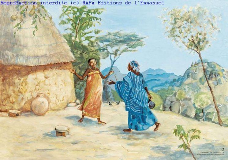 La Visitation  (Lc 1,39), Carte simple Vie de Jésus Mafa