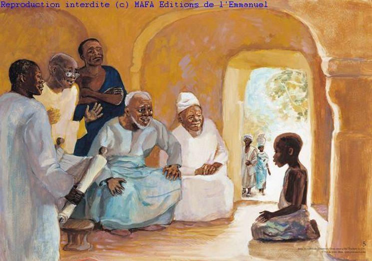 Jésus au milieu des Docteurs  (Lc 2,41), Carte simple Vie de Jésus Mafa