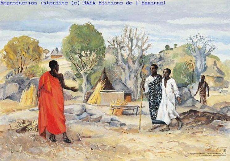 Les deux premiers Disciples  (Jn 1,35), Carte simple Vie de Jésus Mafa
