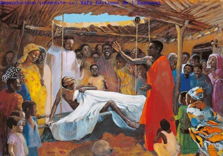 Jésus guérit un paralysé  (Lc 5,17), Carte simple Vie de Jésus Mafa