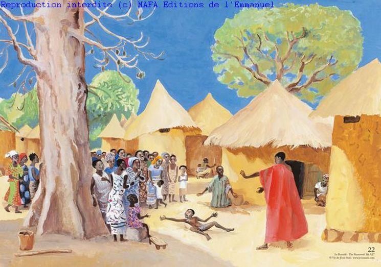 Le Possédé  (Mc 9,17), Carte simple Vie de Jésus Mafa