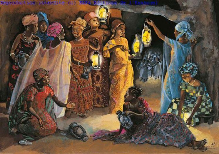 Les dix Jeunes Filles  (Mt 25,1), Carte simple Vie de Jésus Mafa