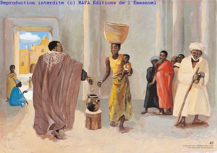 Le Don de la Veuve  (Lc 21,1), Carte simple Vie de Jésus Mafa