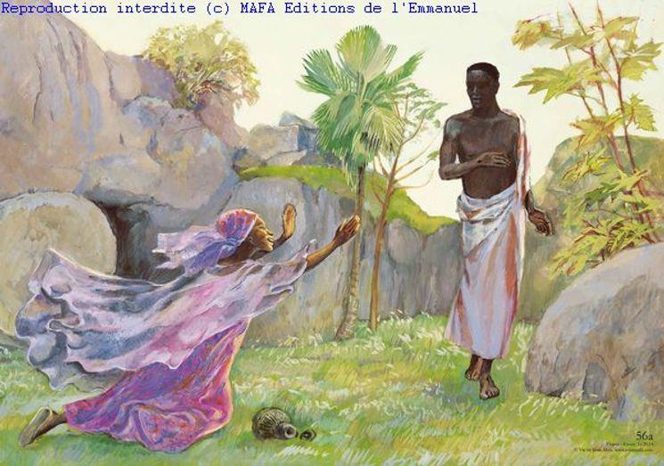 Pâques  (Jn 20,14), Carte simple Vie de Jésus Mafa