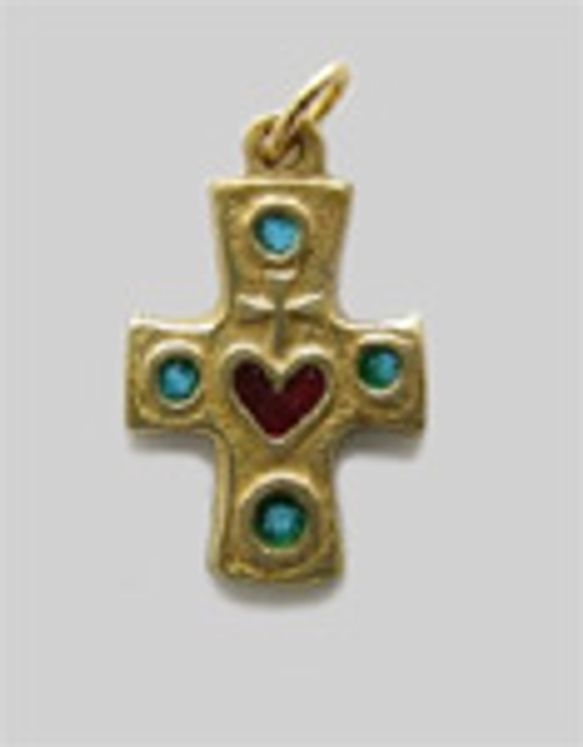 Pendentif en bronze émaillé motif Sacré-Coeur