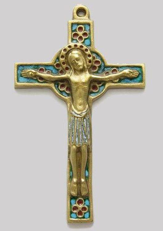 Crucifix  en bronze émaillé, style médiéval