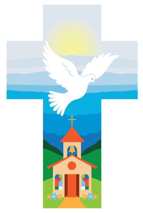 Croix colombe et église bleue