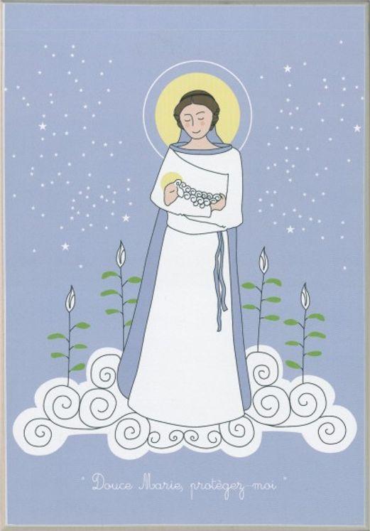 Icône Tante Menoue à accrocher ou à poser  Marie avec Agneau/bleu