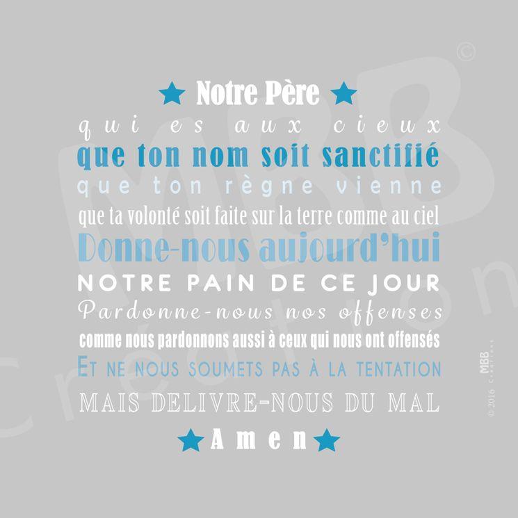 """Toile prière Gris/Bleu turquoise """"Notre Père"""" - Format 20 x 20"""