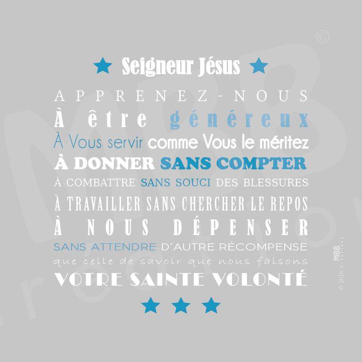 """Toile prière Gris/ Bleu turquoise """"Prière scoute - Seigneur Jésus"""" - Format 20 x 20"""