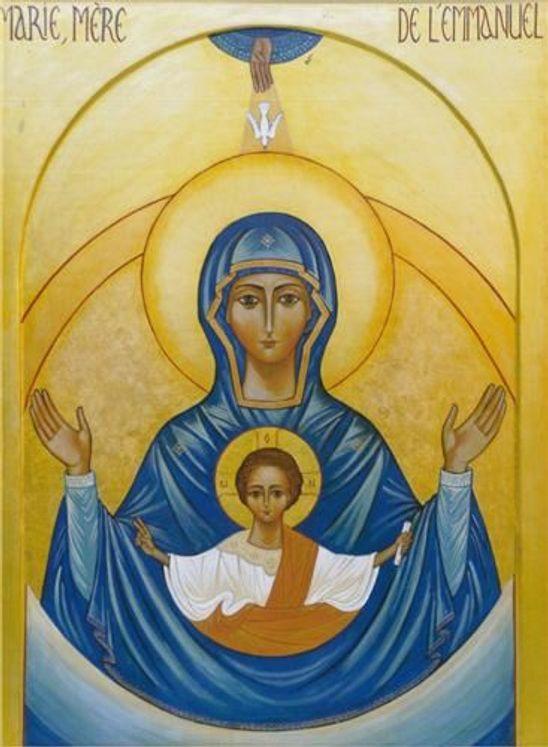 Icône 28,5 x 39,5 Marie Mère de l´Emmanuel