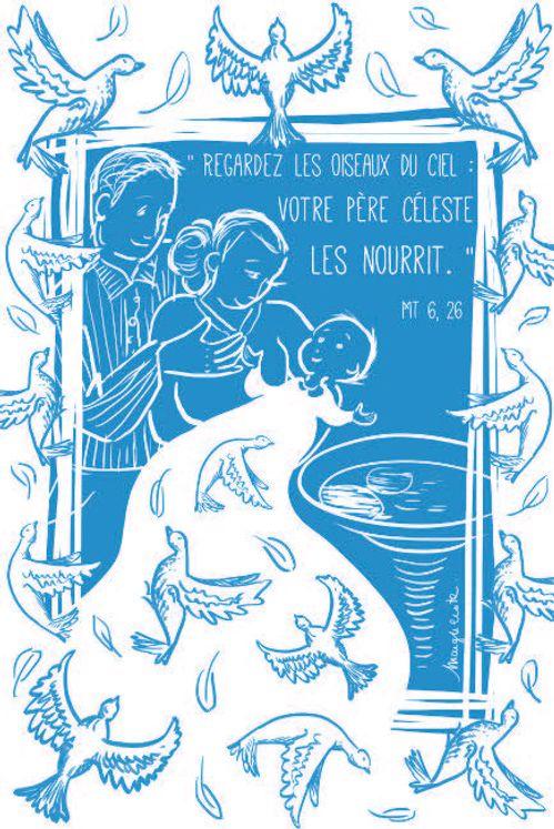 Lot de 25 - Image Baptême 2 Regardez les oiseaux du Ciel