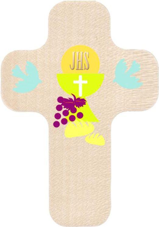 Croix en bois imprimée calice, pain et vin