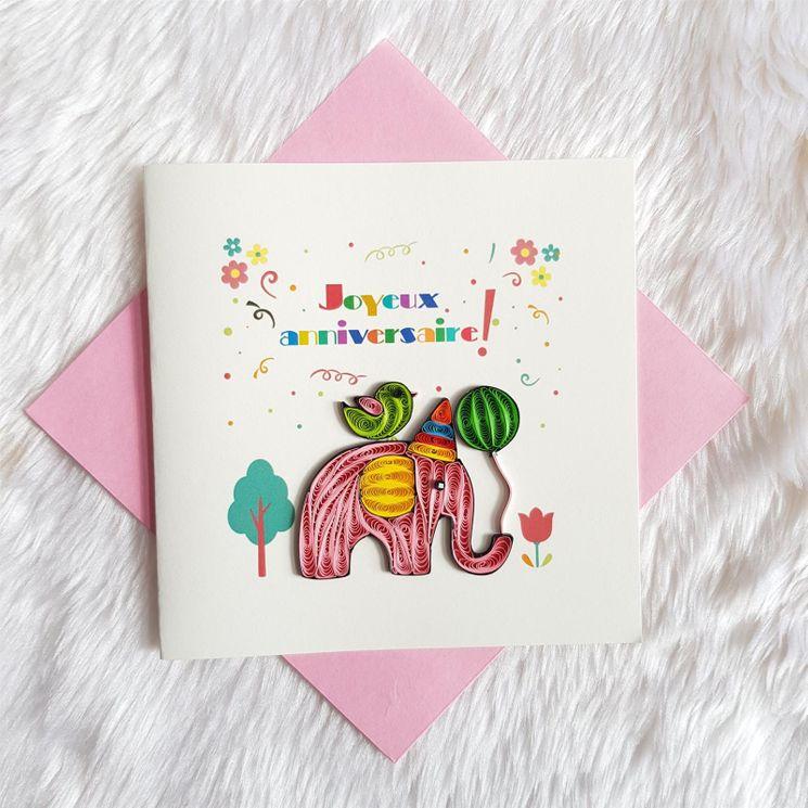 Carte joyeux anniversaire en Quilling avec enveloppe