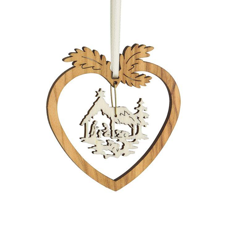 Décoration Noël Coeur et Créche en bois d'olivier 6,5x7cm à suspendre