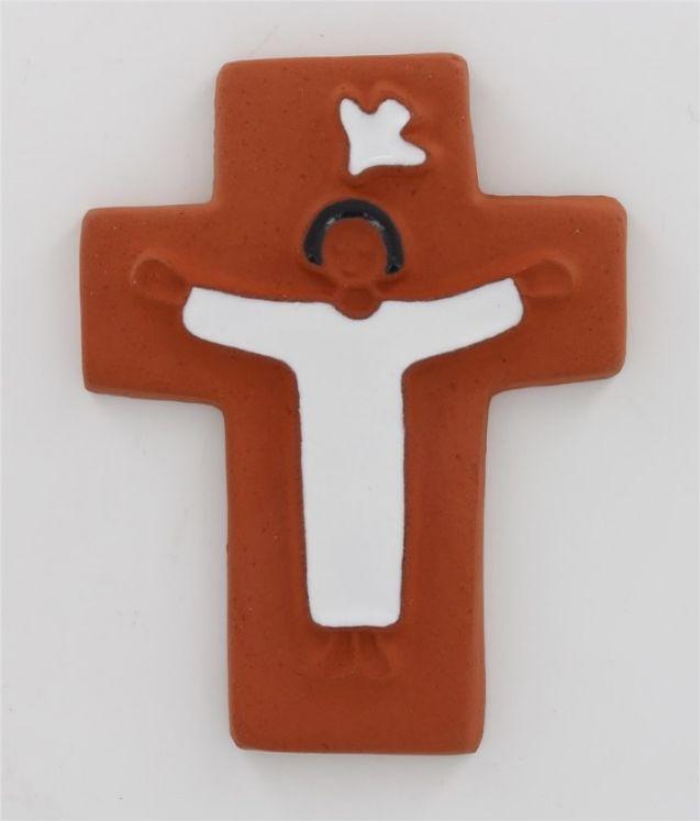 Croix céramique enfant et colombe 20 biscuit