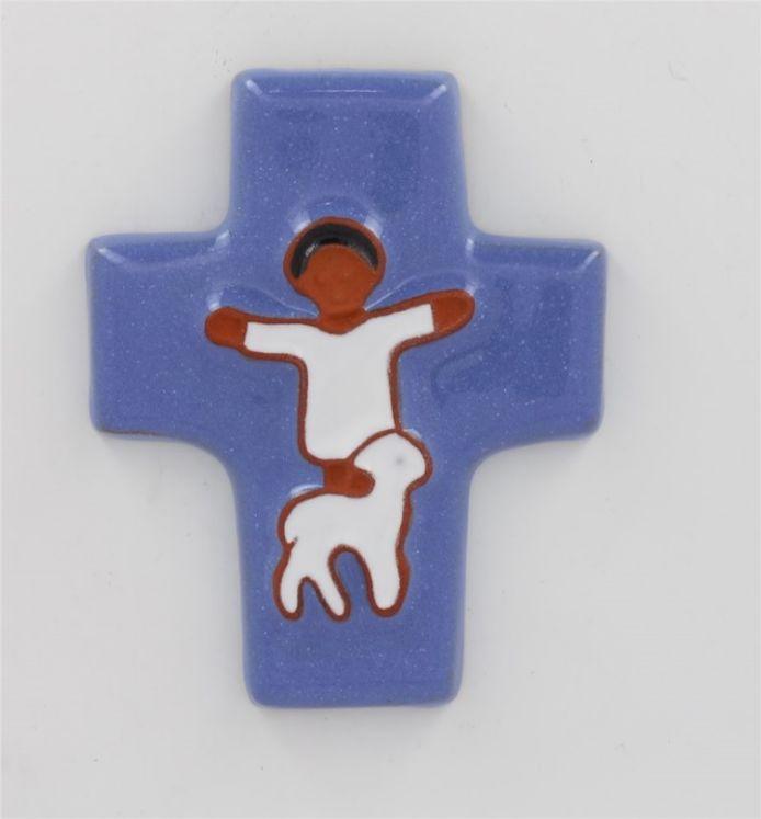 Croix céramique enfant et mouton 9.5 x 11.5 bleu