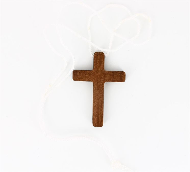 Croix d´aube en hêtre teinté 7 x 5 cm
