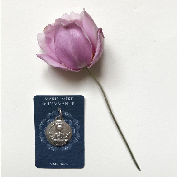 """Médaille """"Marie, mère de l´Emmanuel""""  Argent 925 0/00"""