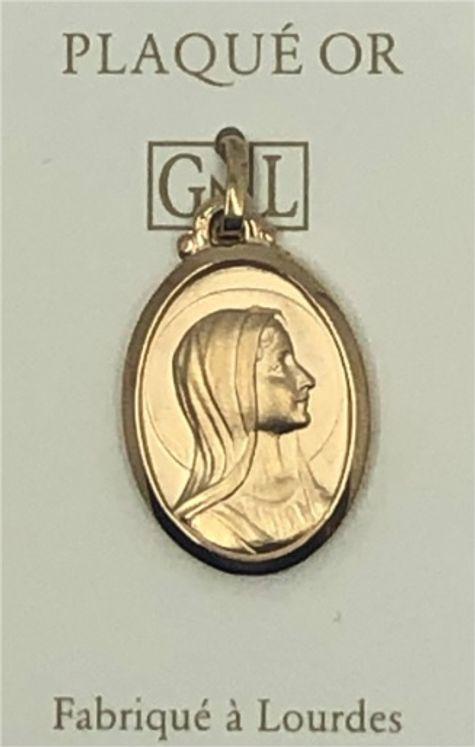 Médaille ovale Vierge de profil, plaqué-or 3 microns