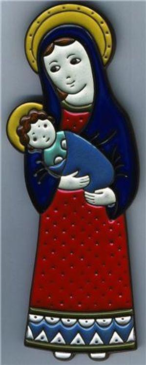 Céramique Vierge à l´Enfant rouge